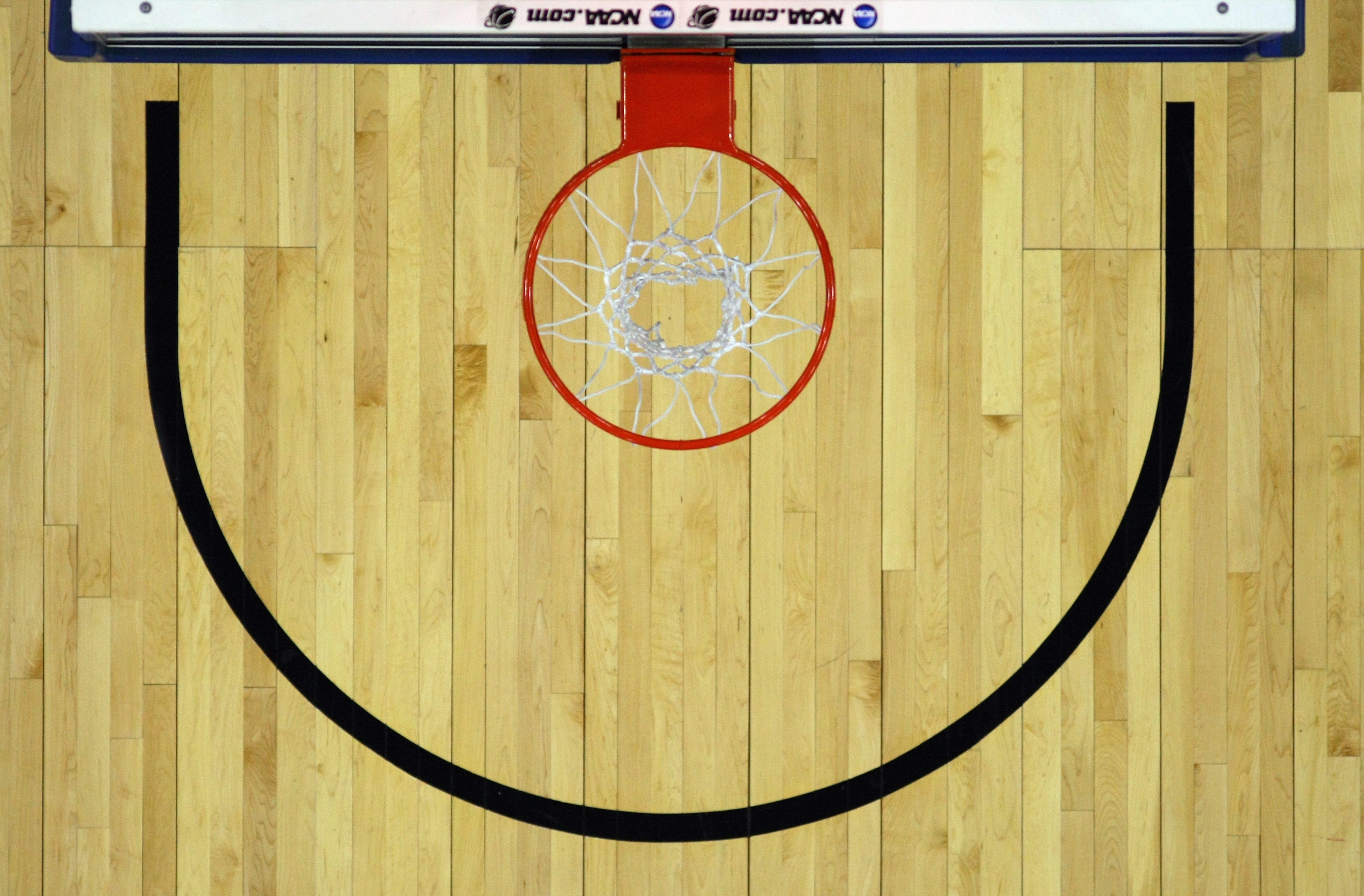 An overhead view of the basket from the second round of the NCAA Men's Basketball Tournament