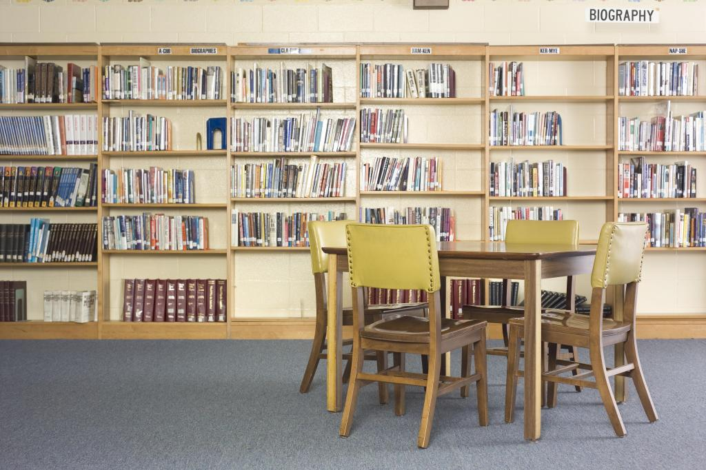 Table and chairs in library