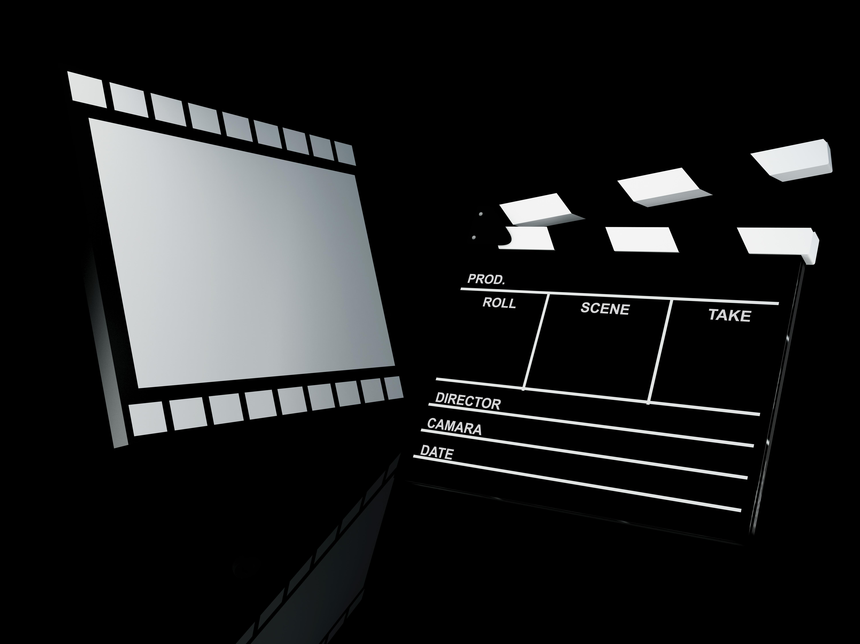 Clapper board and film, 3d illustration. Cinema concept.