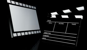 Clapper board and film, 3d illustration. Cinema concept.