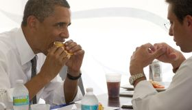 US President Barack Obama eats a 'median