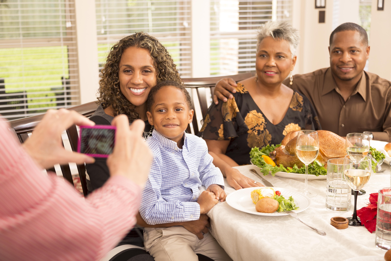 Relationships: Family gathers for dinner at grandma's house.