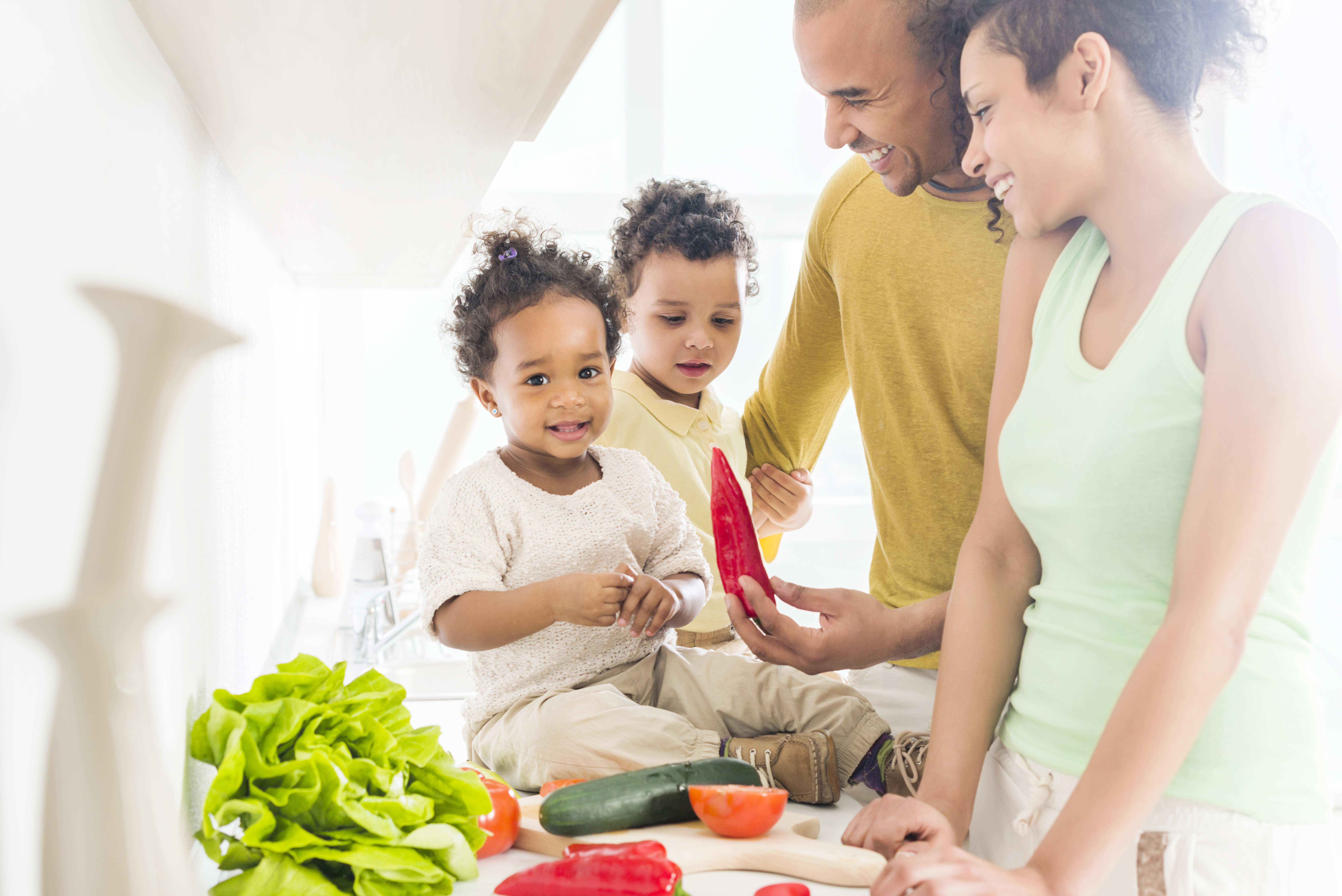 African American family in the kitchen.