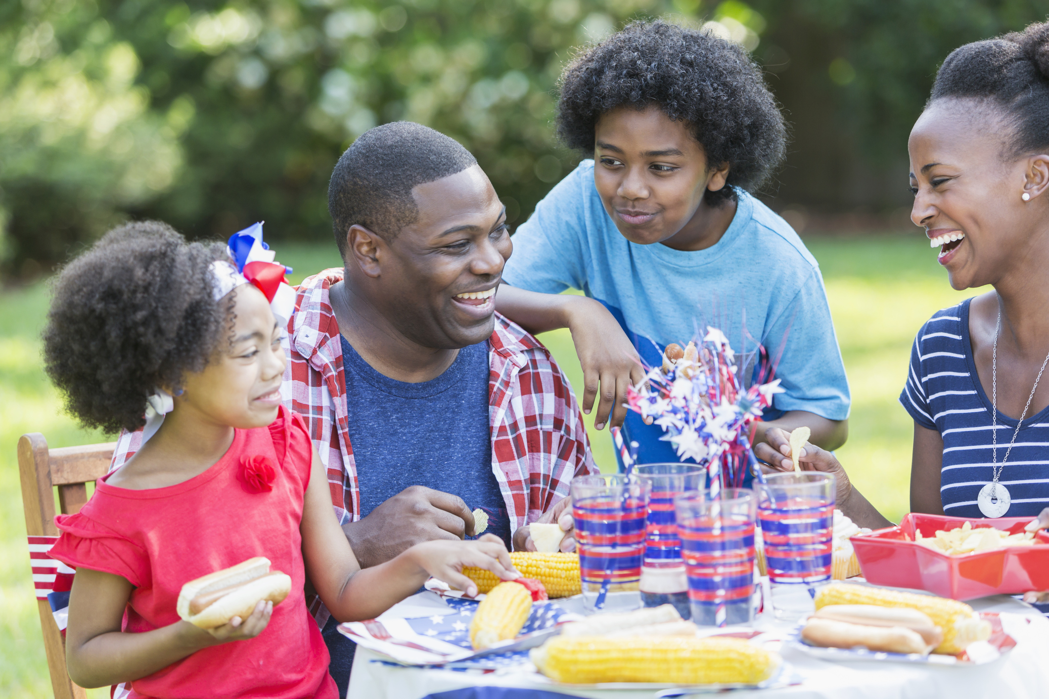 African American mixed race family at July 4th picnic