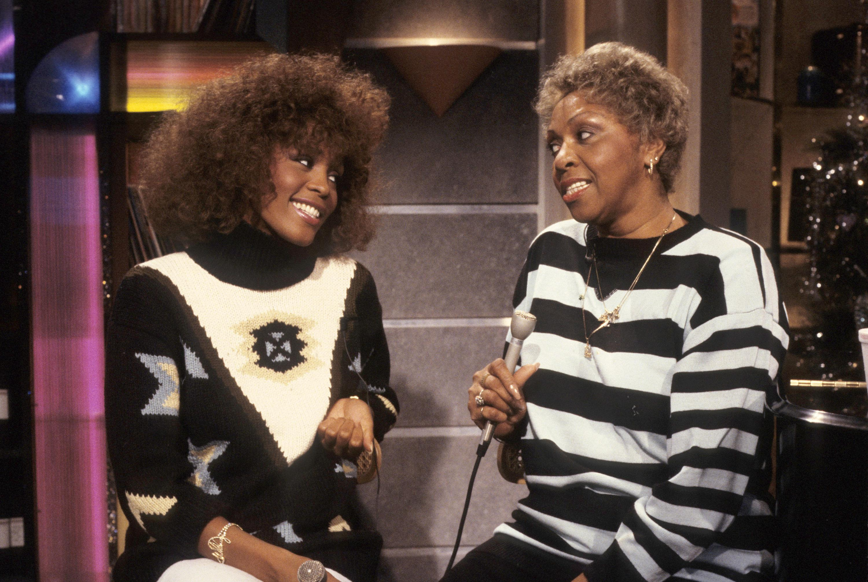 Whitney Houston and Cissy Houston on Set at MTV