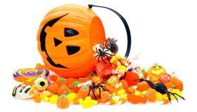 Jack o lantern pumpkin with candy