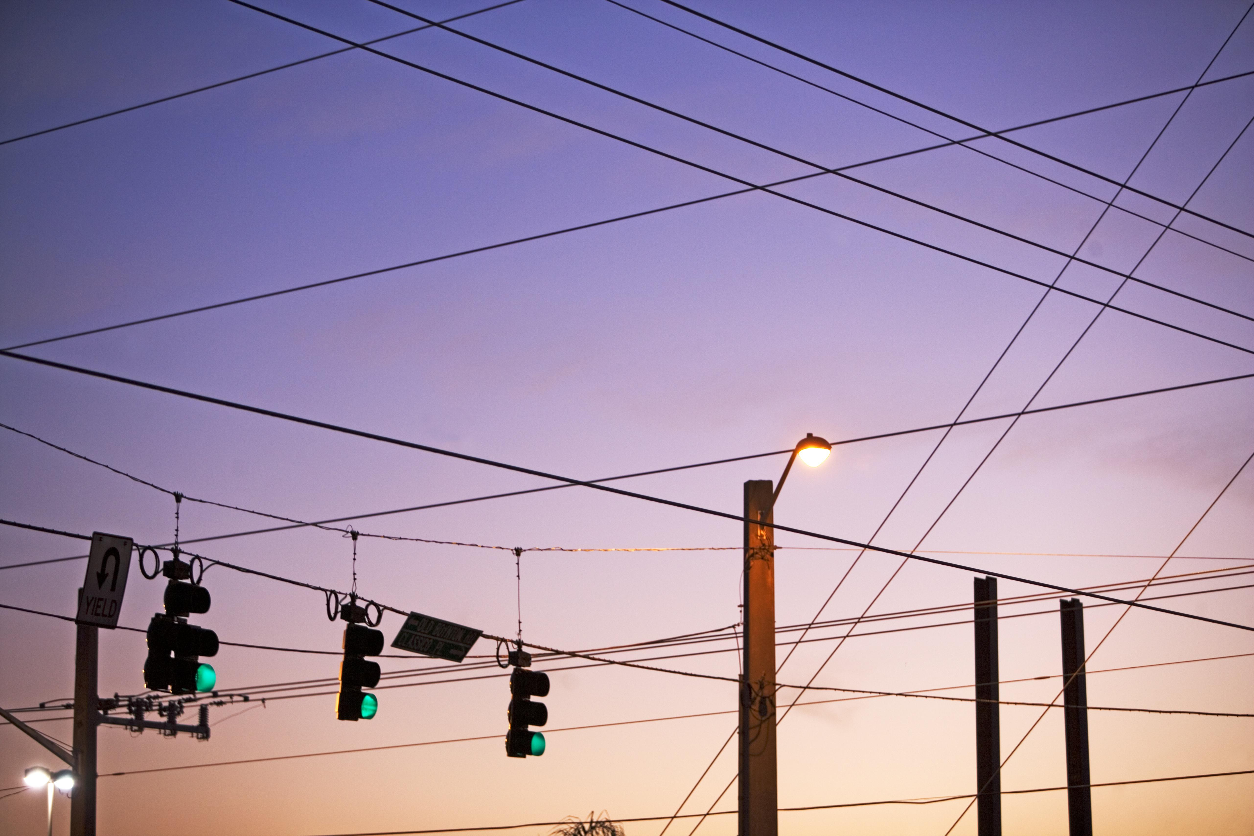 Electrical wires and traffic lights