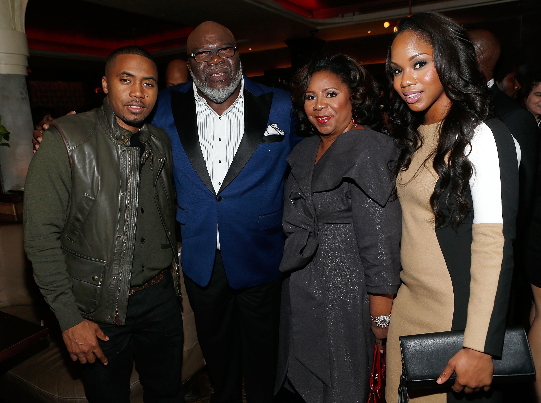 Rapper Nas, Executive producer Bishop TD Jakes, Serita Jakes and Sarah Jakes