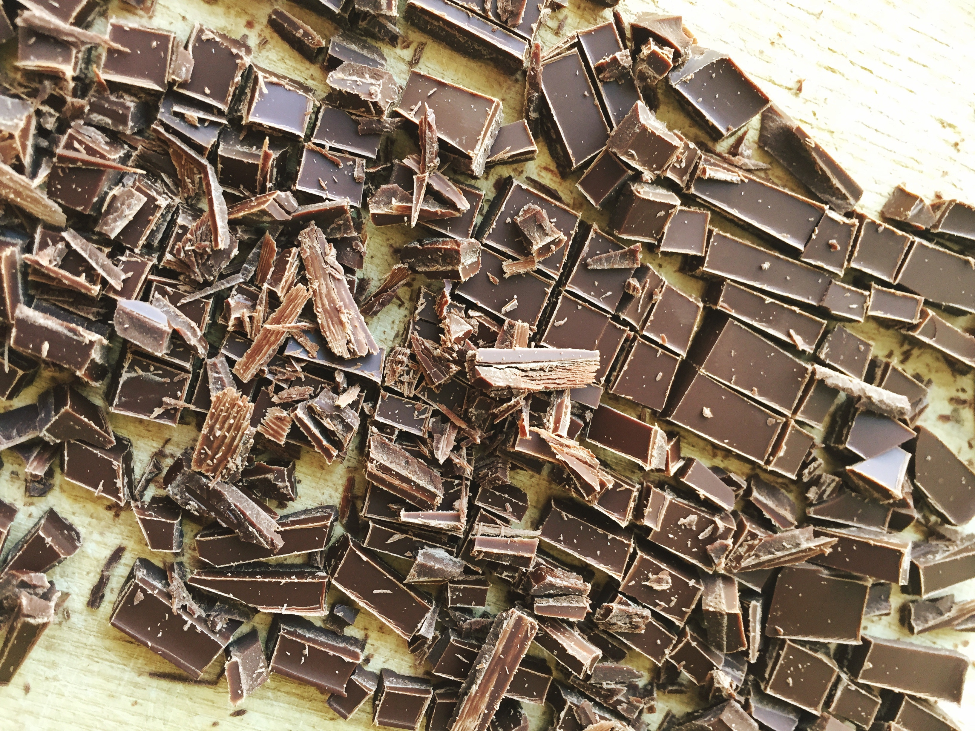 Directly Above View Of Scattered Chocolate On Table