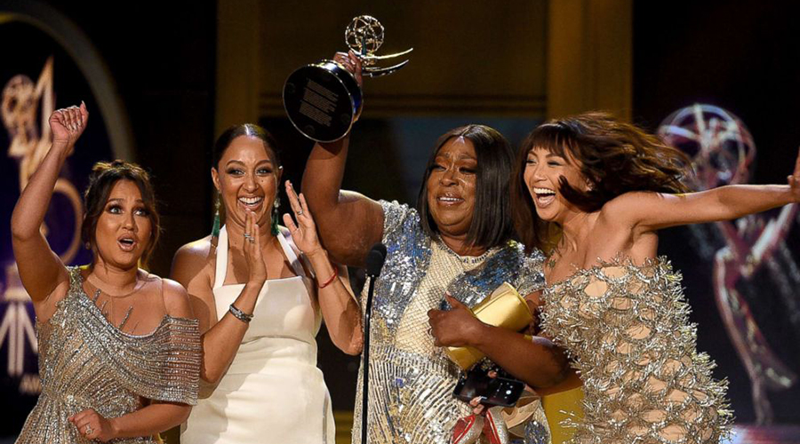 Adrienne Bailon, Tamera Mowry, Loni Love and Jeannie Mai, winners of Outstanding Entertainment Talk Show Host for 'The Real', onstage during the 45th annual Daytime Emmy Awards on April 29, 2018 in Pasadena, Calif. (Photo Credit: Getty)