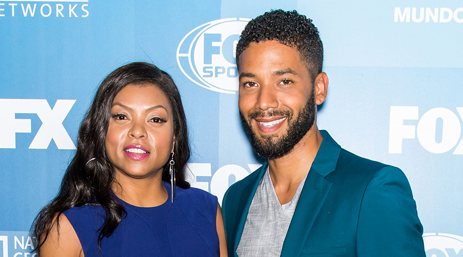 Taraji Henson poses with Jussie Smollett who authorities say faked a hate crime to promote his career (Credit: Getty)