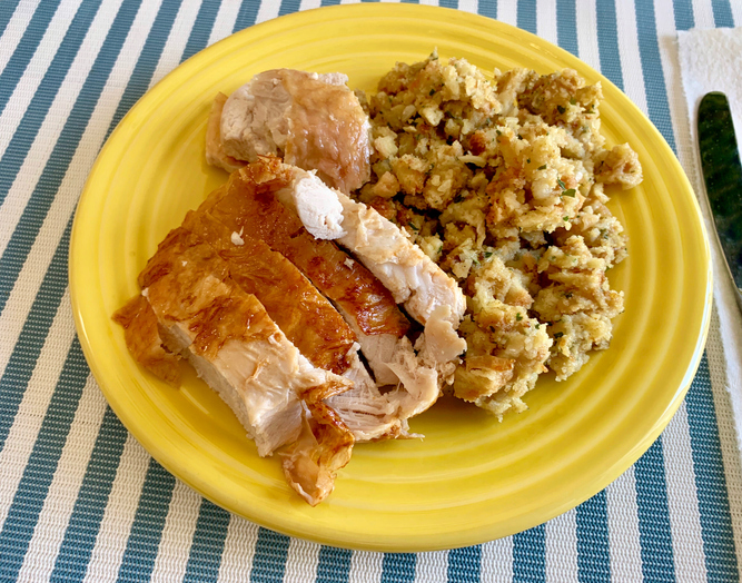 Homemade turkey breast with stuffing