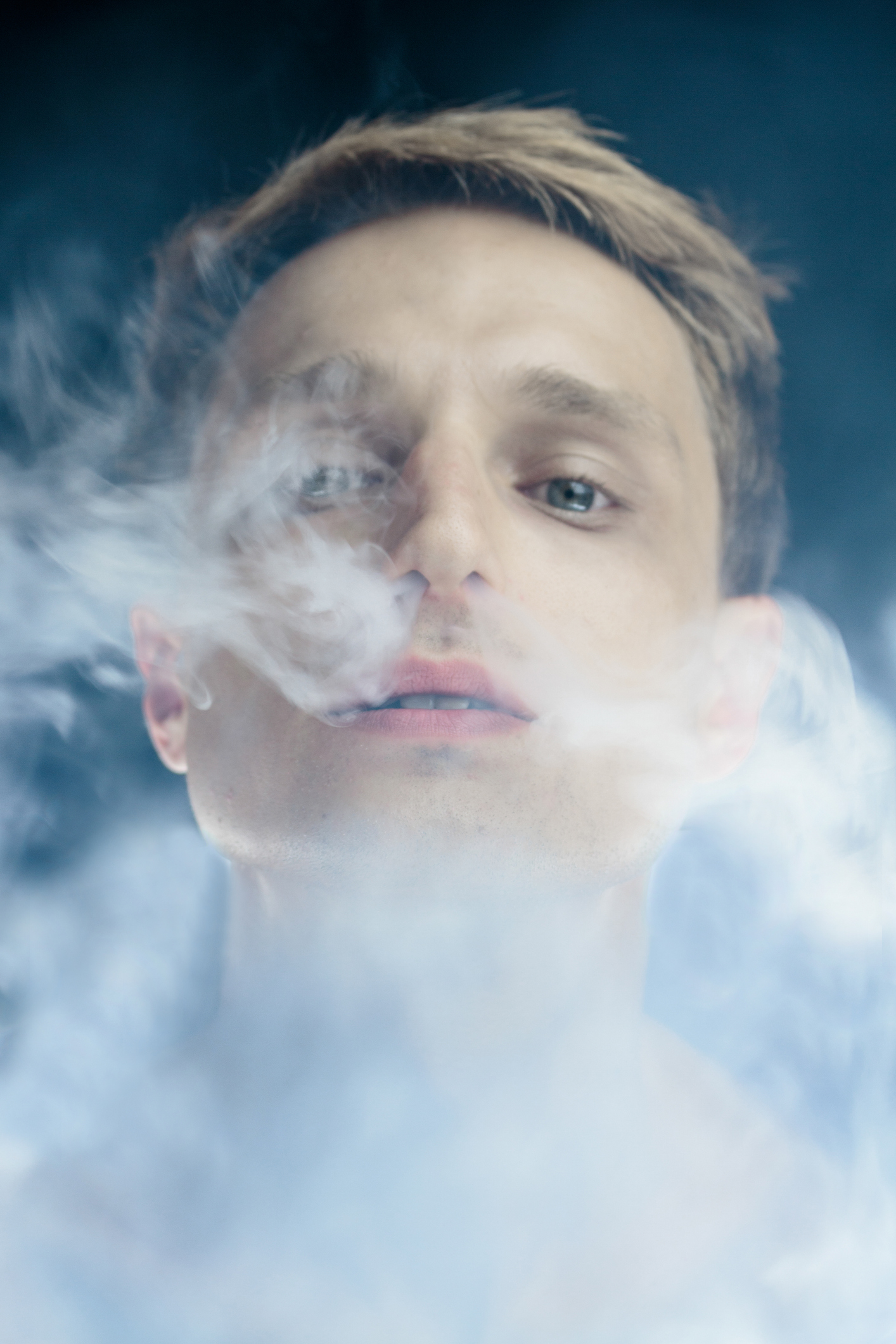 Portrait Of Man By Smoke