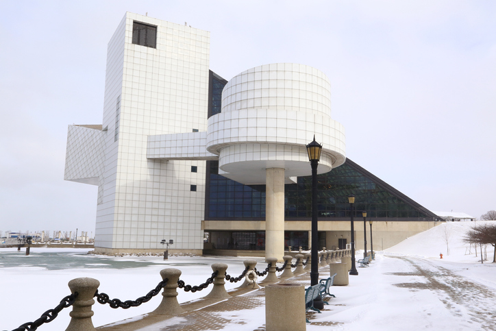 Rock and Roll Hall of Fame and Museum during the winter season