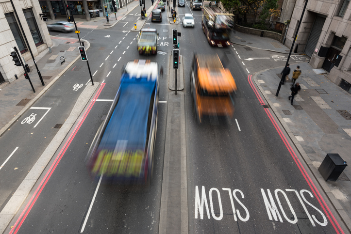 High Angle View of Traffic on a Busy City Street