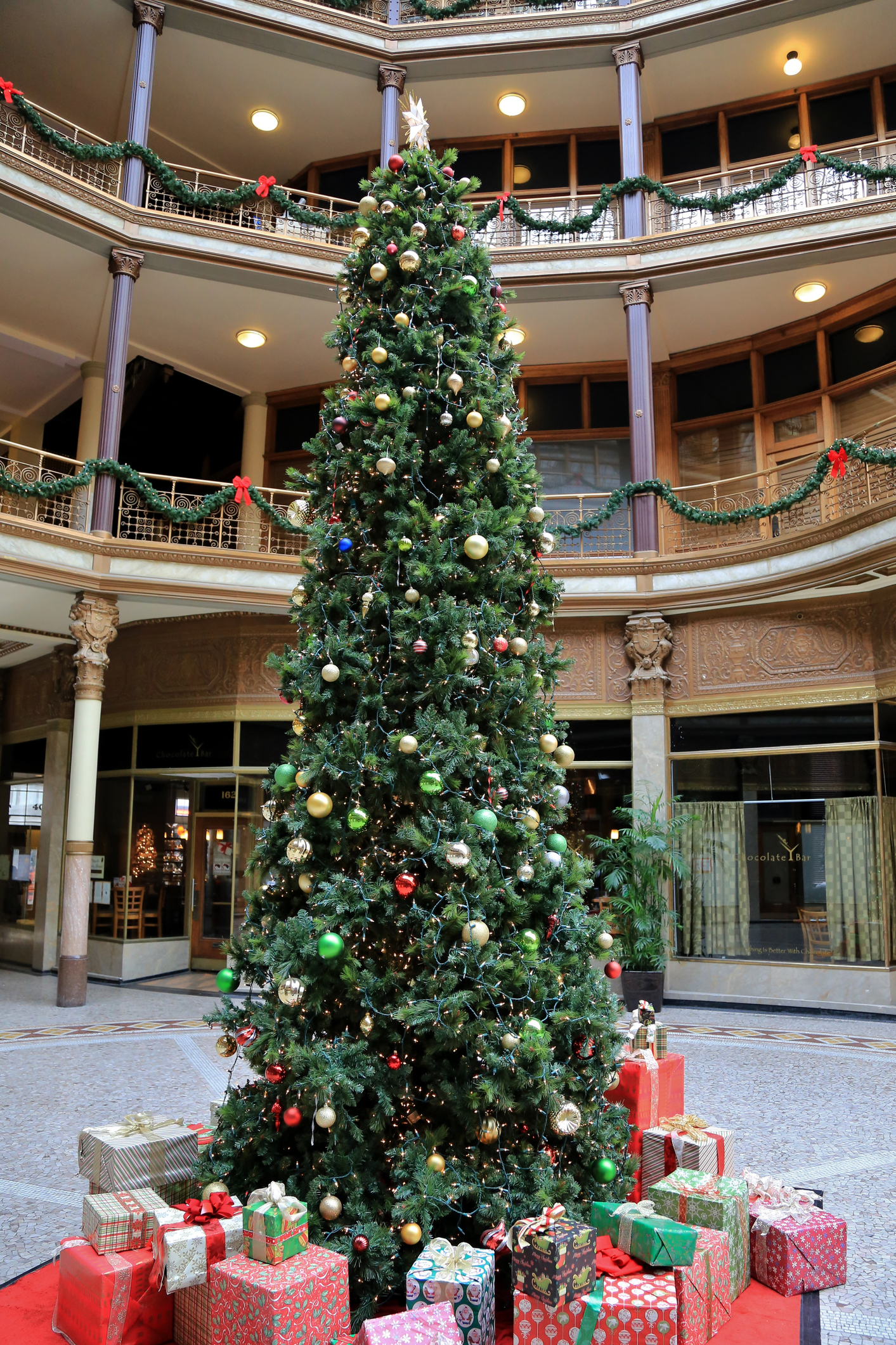 Christmas at the Historic Euclid Arcade retail shopping, Cleveland, Ohio, USA