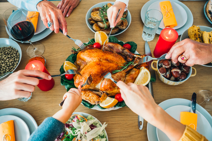 Traditional holiday turkey dinner for Christmas or Thanksgiving Day