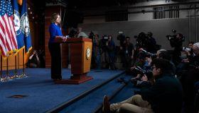 Nancy Pelosi Weekly Press Conference in speaks during her weekly press conference at HVC Studio A in Washington, DC, US