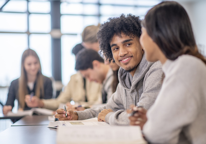 University Students in Class stock photo