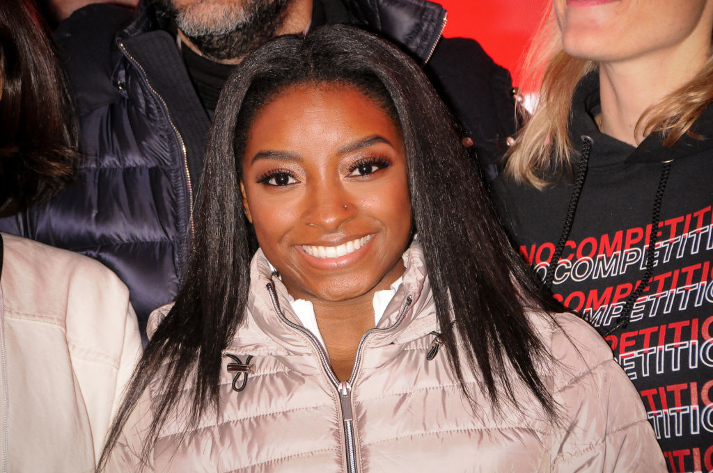 Simone Biles Promotes SK-II at Times Square in New York, US